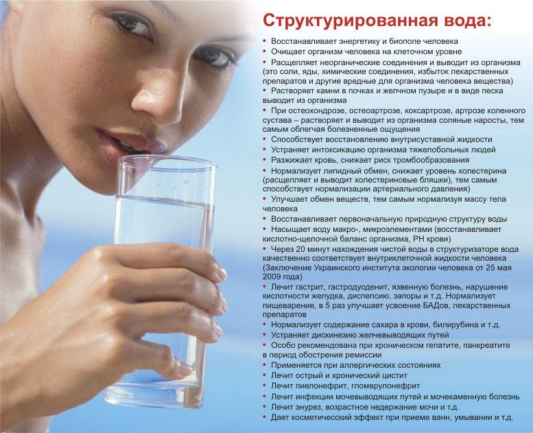 Полезные воздействия структурированной воды на организм человека:  - вода, обработанная в структуризаторе, восстанавливает циркуляцию энергии в меридианах сердца; - способствует более быстрому выздоровлению при лечении геморроя, рака желудка, язвенной болезни, сахарного диабета. Купирует воспаление селезенки, восстанавливает поврежденную микрофлору; - уменьшает содержание холестерина в крови и очищает кровеносные артерии; - благоприятно воздействует на костный мозг, кровь, на воспаленные лимфоузлы, при дегенерации кровотока и лимфотока; - способствует рассасыванию рубцов миокарда; - способствует выведению холестерина. Устраняет анемию, лейкоз, способствует рассасыванию злокачественных новообразований органов пищеварения и др., кистозной мастопатии, эффективно используется при лечении рака молочной железы, солитарной кисты почки, аденокарциноме матки;  - устраняет плоскоклеточный рак мочевого пузыря; - нормализирует работу почек – устраняет капиллярный инфильтрат, нефрит, полипы мочевого пузыря; - вода останавливает кровотечение; - мужская урология - благотворно влияет на предстательную железу; - эффективно воздействует на кишечные инфекции, сальмонеллы, гельминты, эхинококки, ленточные черви, круглые черви, аскаридоз, трихиноз, саркацитоз, трихомонады, уреоплазмы; - нормализует работу желудочно-кишечного тракта; - улучшает пищеварительные функции, регулирует кислотность; - устраняет внутричерепное давление, косоглазие; - снимает воспаление голосовых связок, бронхов, легких; - помогает при болезни Паркинсона, при нервном истощении, депрессии , амнезии; - способствует выведению шлаков и токсинов из организма; - активизирует иммунную систему; - улучшает сон; - помогает при лечении воспаления слизистой полости рта.