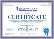 Сертификат Ion Detox Spa обучение - 2 уровень