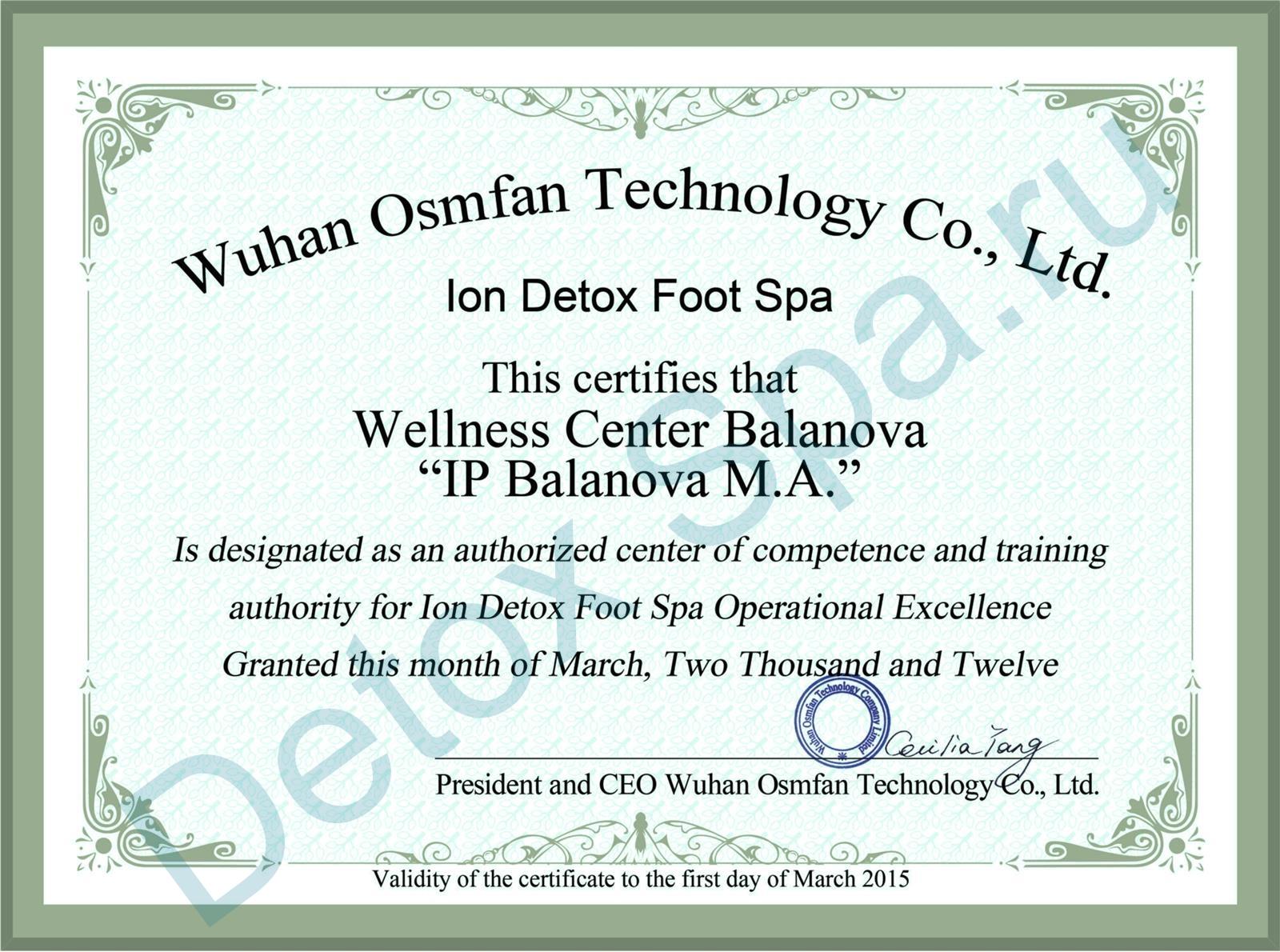 Сертификат на право обучения Ion Detox Spa